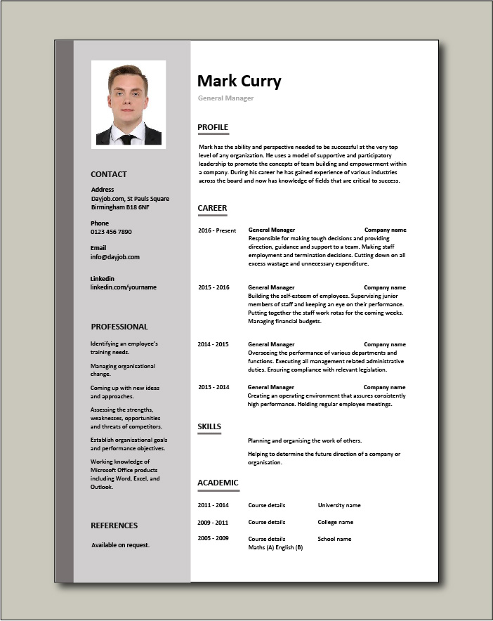 General Manager Cv Sample Responsible For Daily Operations And