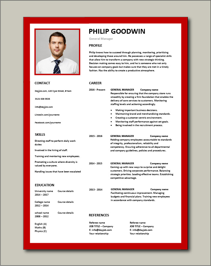 Free General Manager CV template 6