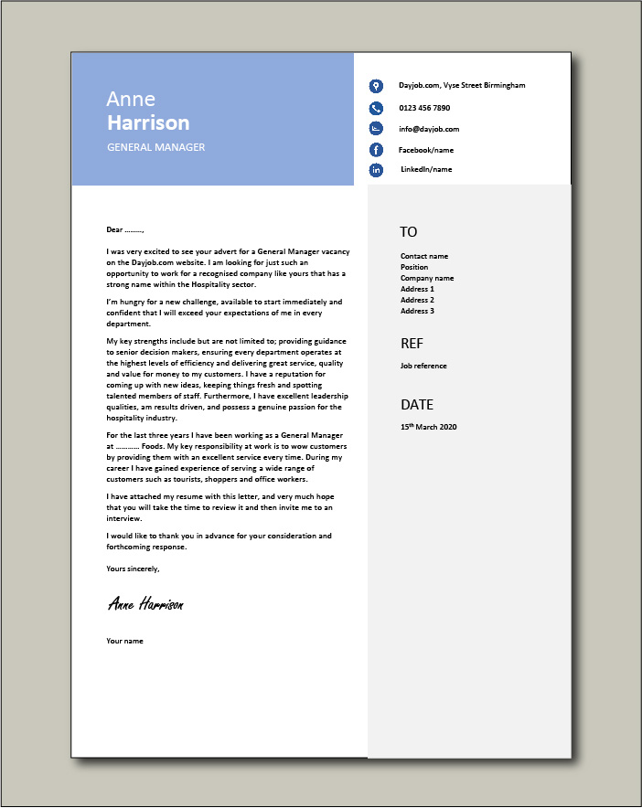 Free General Manager cover letter example 3
