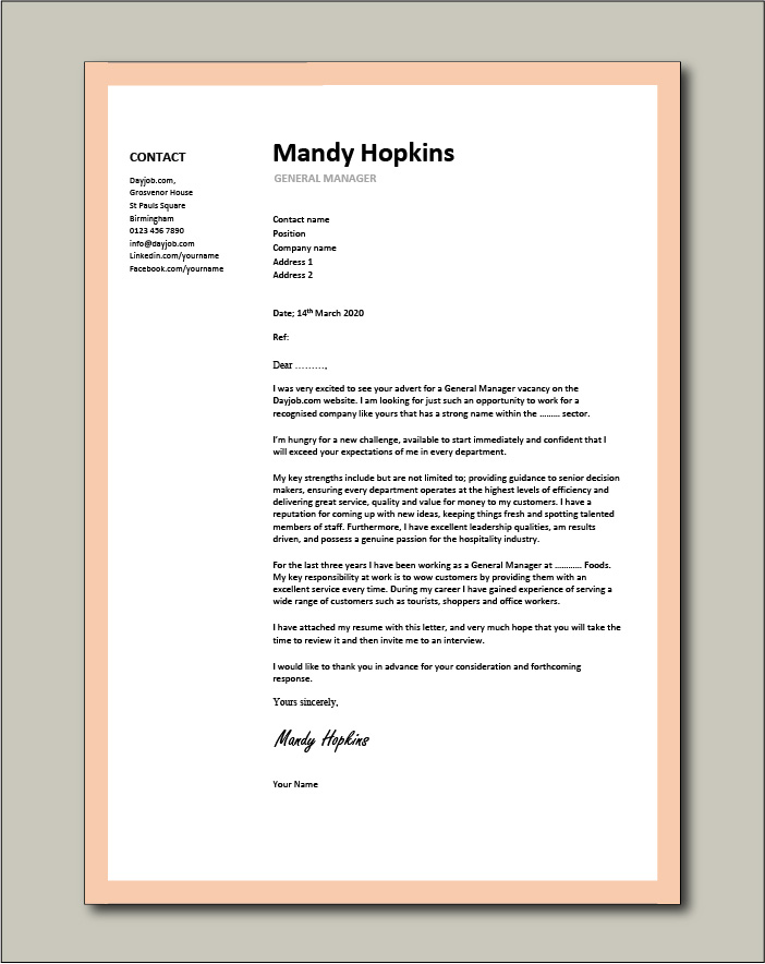 Free General Manager cover letter example 5
