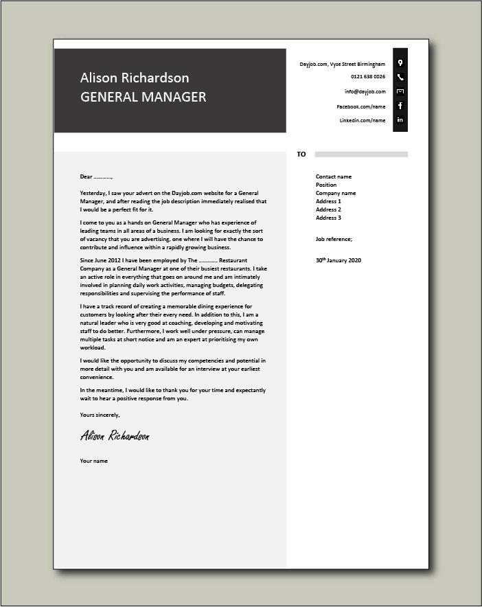 Free General Manager cover letter example 7