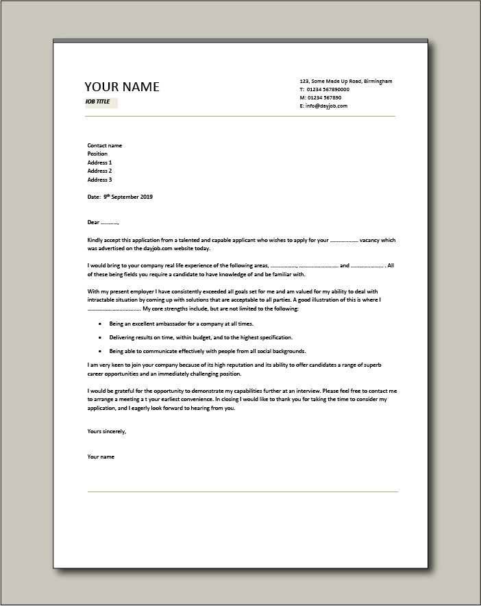 Sample General Cover Letter from www.dayjob.com