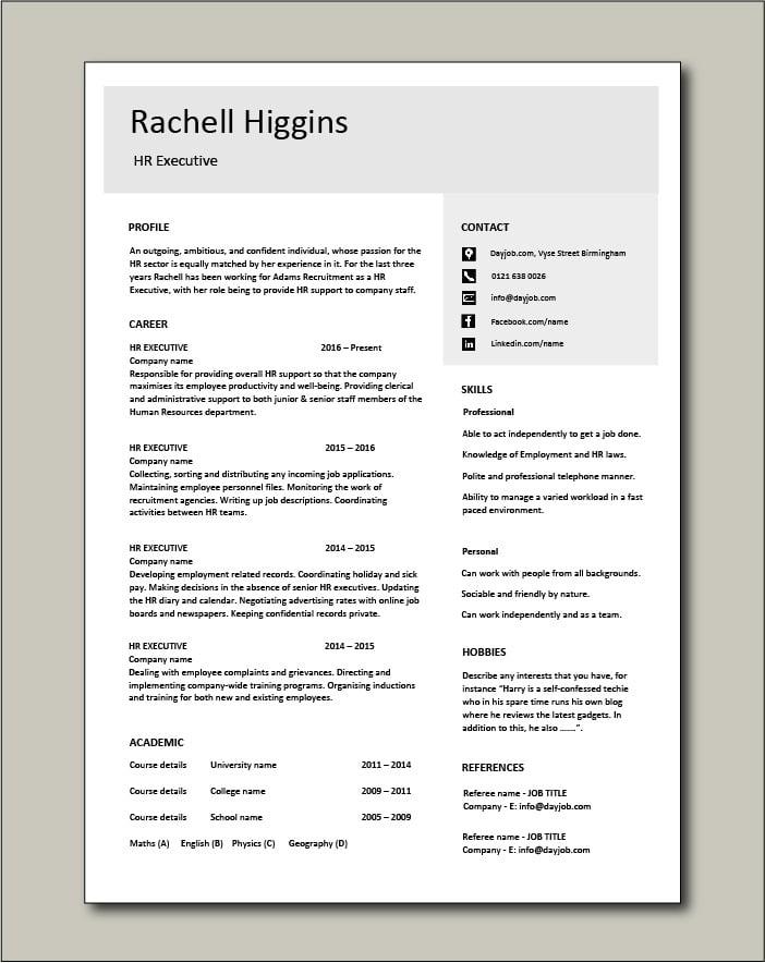 Free HR Executive CV template 4