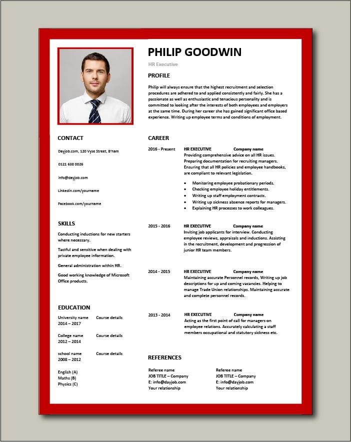 Free HR Executive CV template 6