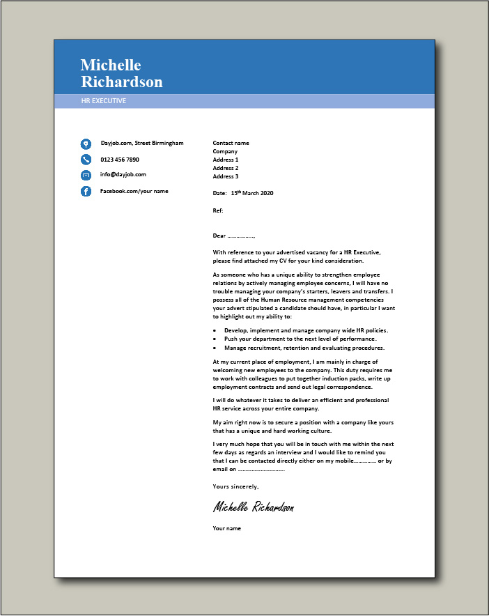 Free HR Executive cover letter example 1