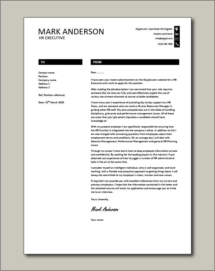 Free HR Executive cover letter example 8