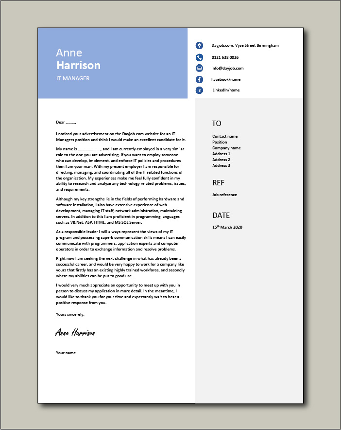 Free IT Manager cover letter example 3