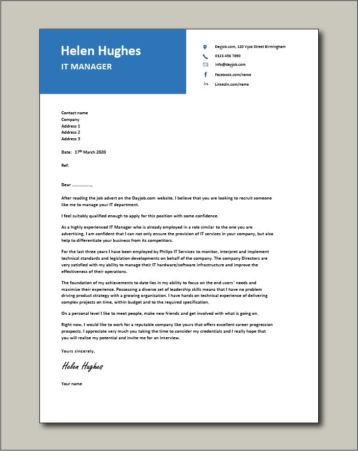Free IT Manager cover letter example 4