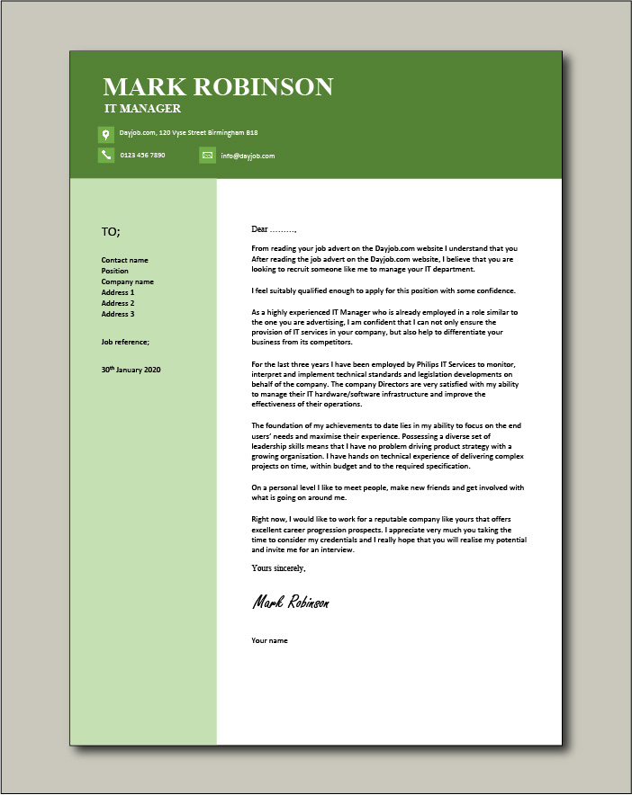 Free IT Manager cover letter example 6