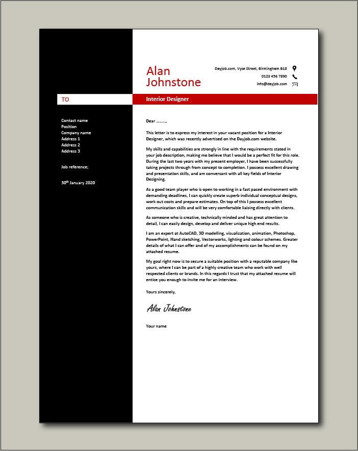 Interior Designer Cover Letter Sample Example Designing Creative Colours Cv Job Application