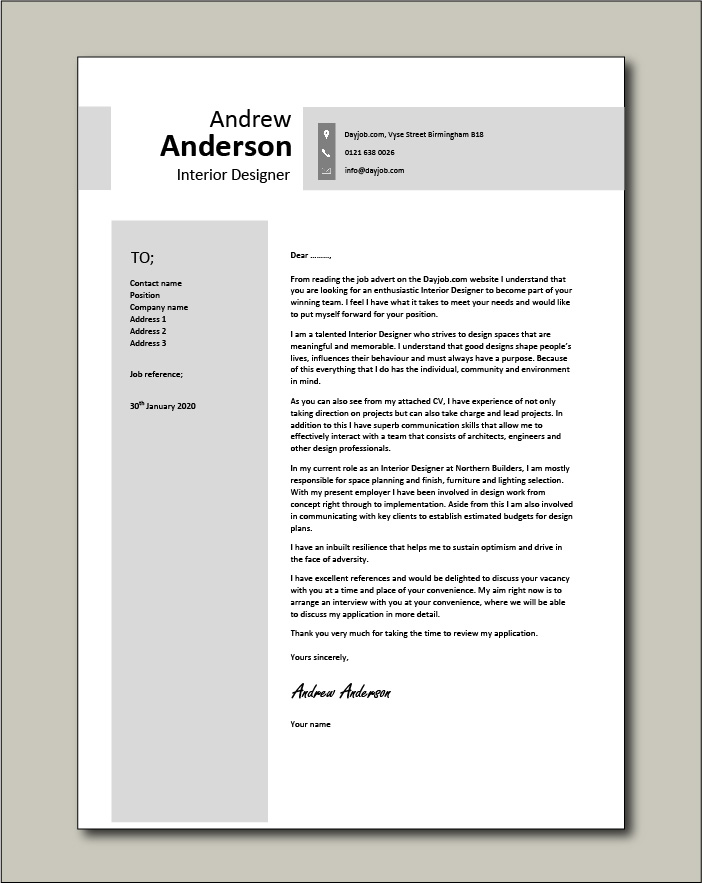 Interior Designer Cover Letter Sample Example Designing Creative Colours Cv Job Application