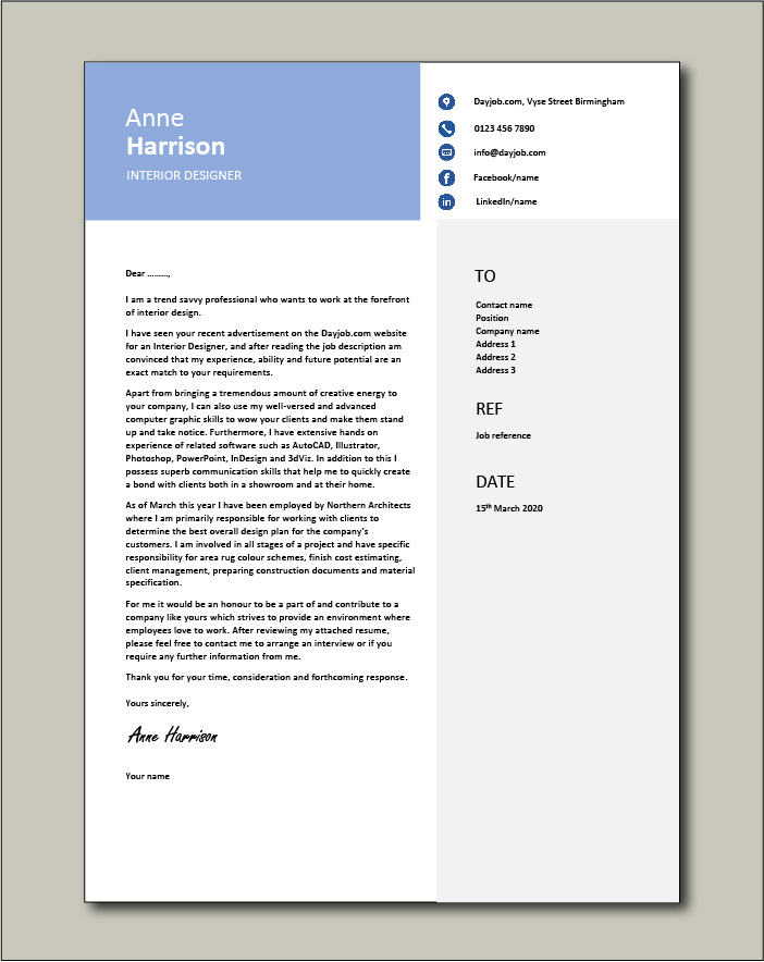 Free Interior Designer cover letter example 7
