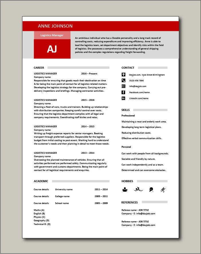 Free Logistics Manager CV template 2