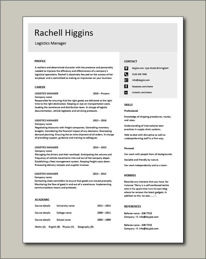 Free Logistics Manager CV template 4