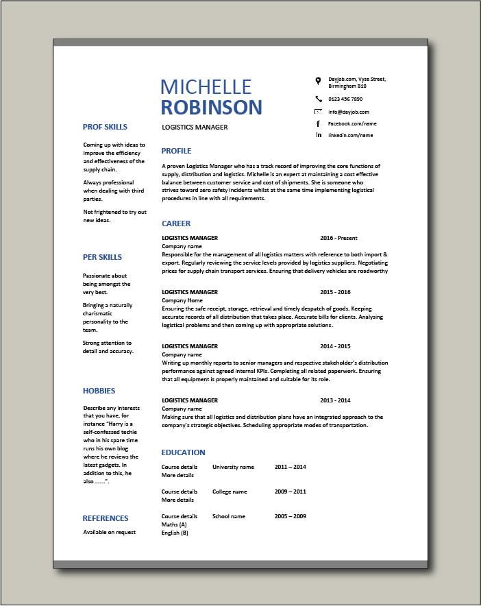 Free Logistics Manager CV template 8