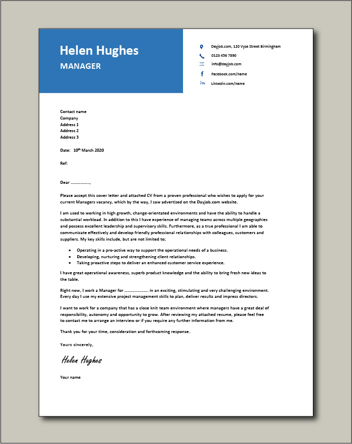 Free Manager cover letter example 4