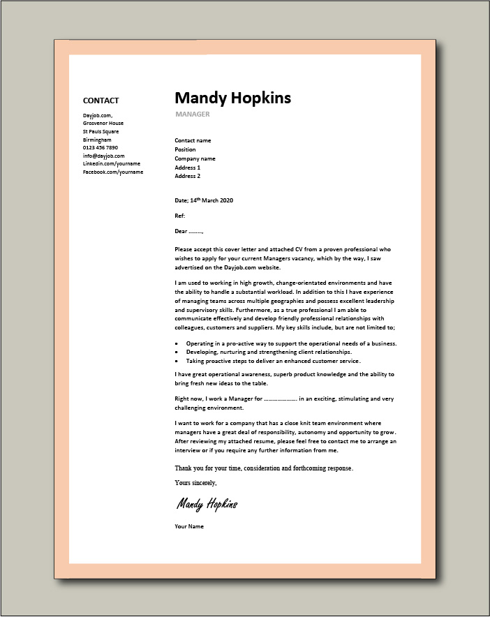 Free Manager cover letter example 5