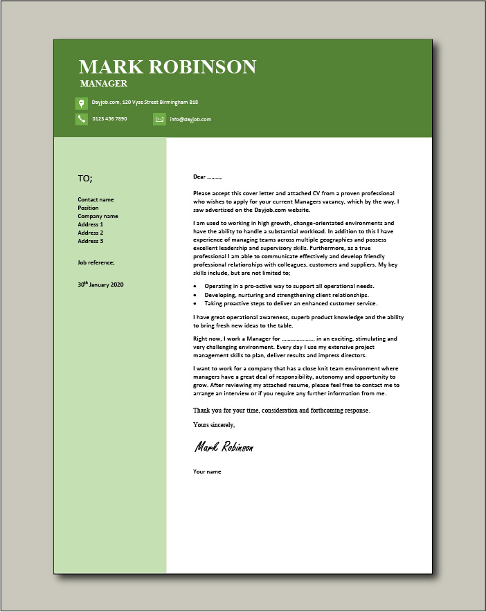 Free Manager cover letter example 6
