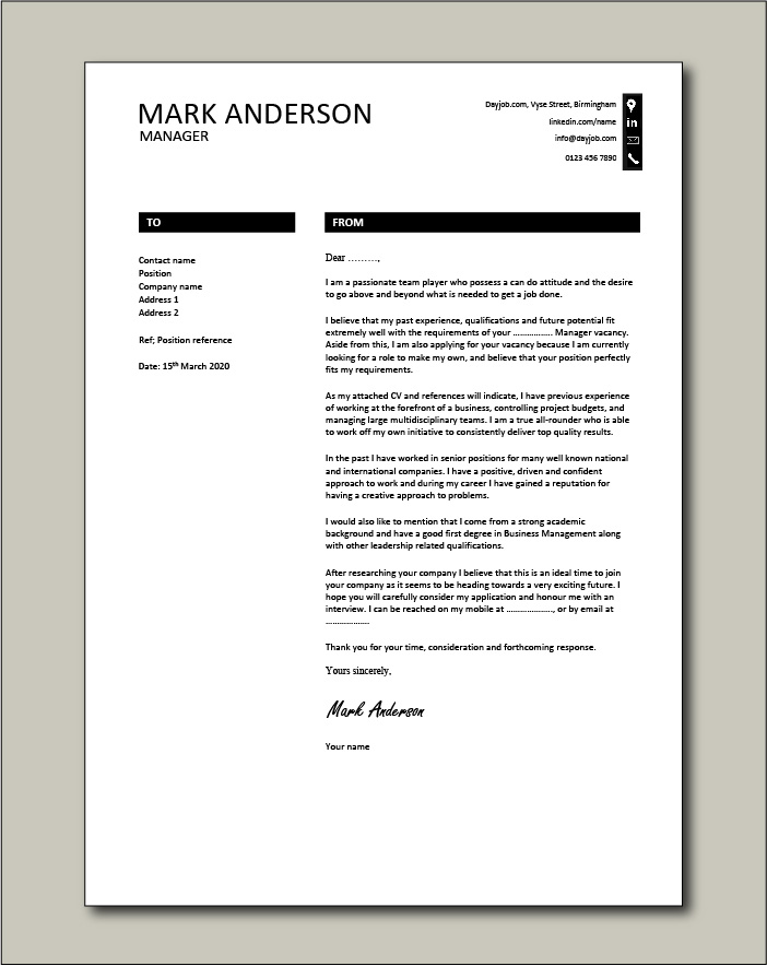 Free Manager cover letter example 8