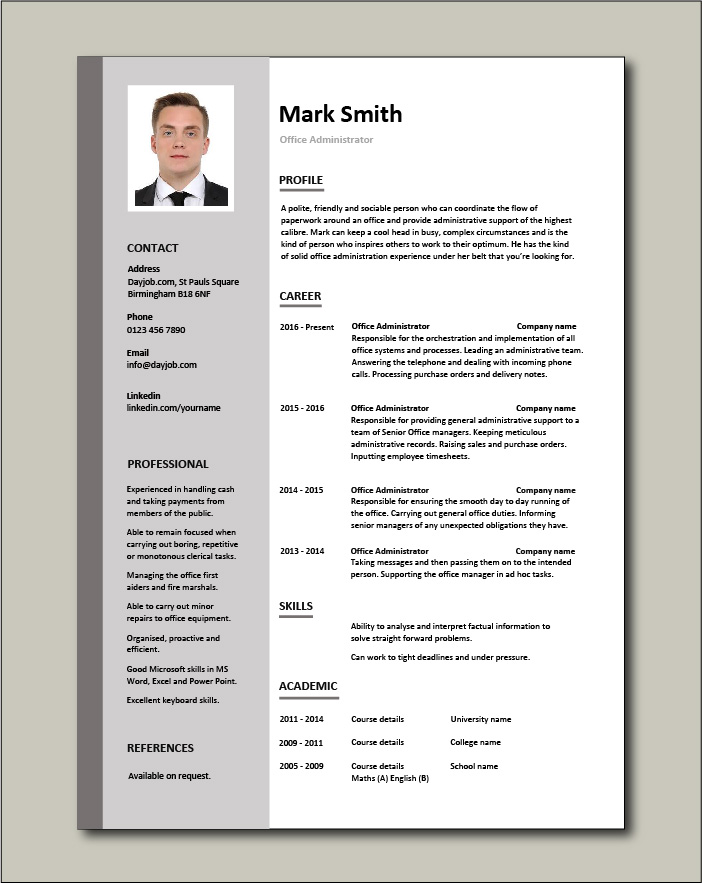 Free Office Administrator CV template 1