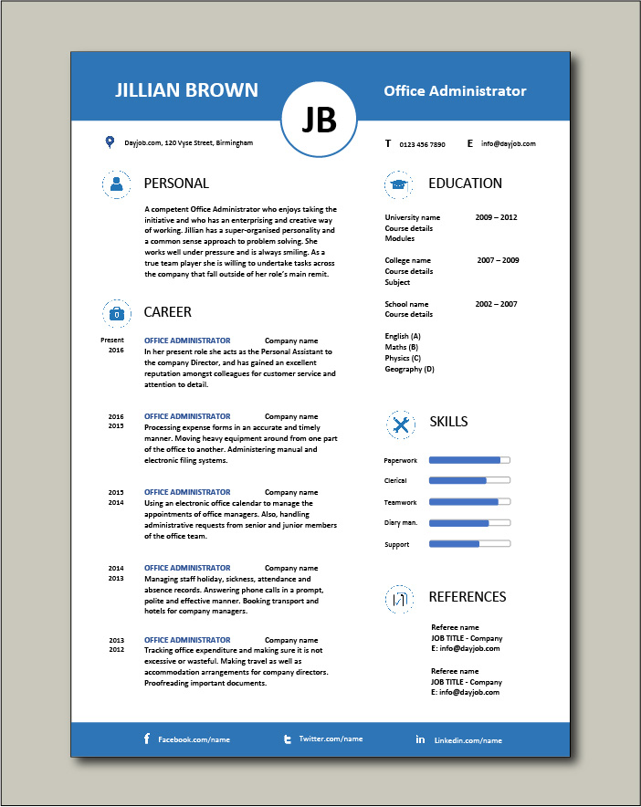 Free Office Administrator CV template 5