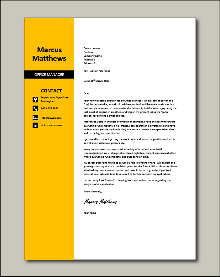 Free Office Manager cover letter example 4