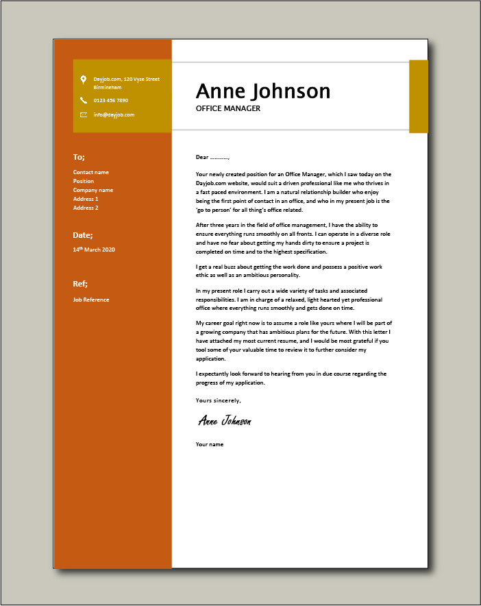 Free Office Manager cover letter example 6
