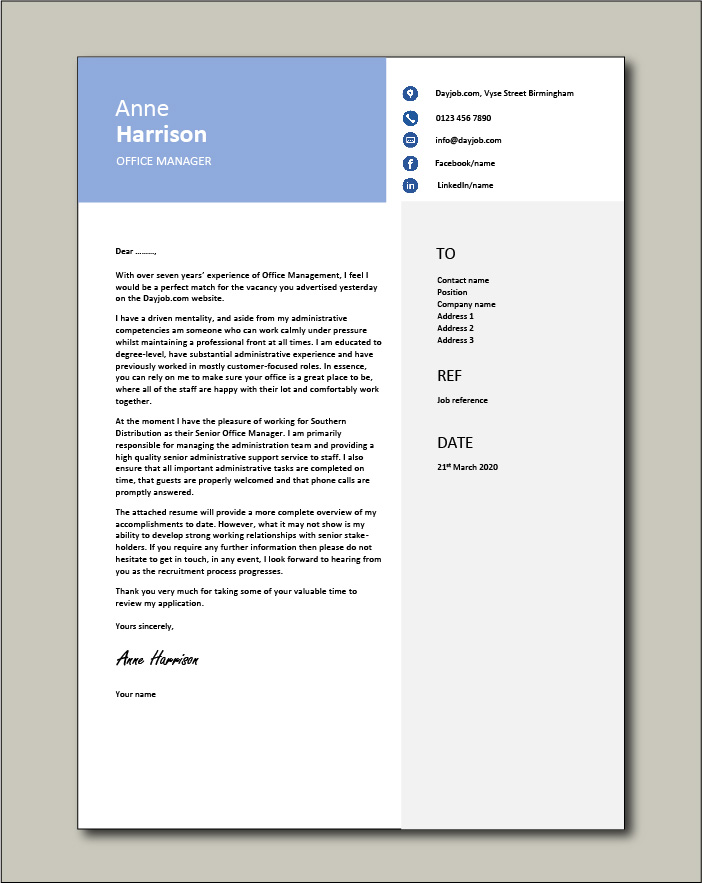 Free Office Manager cover letter example 7