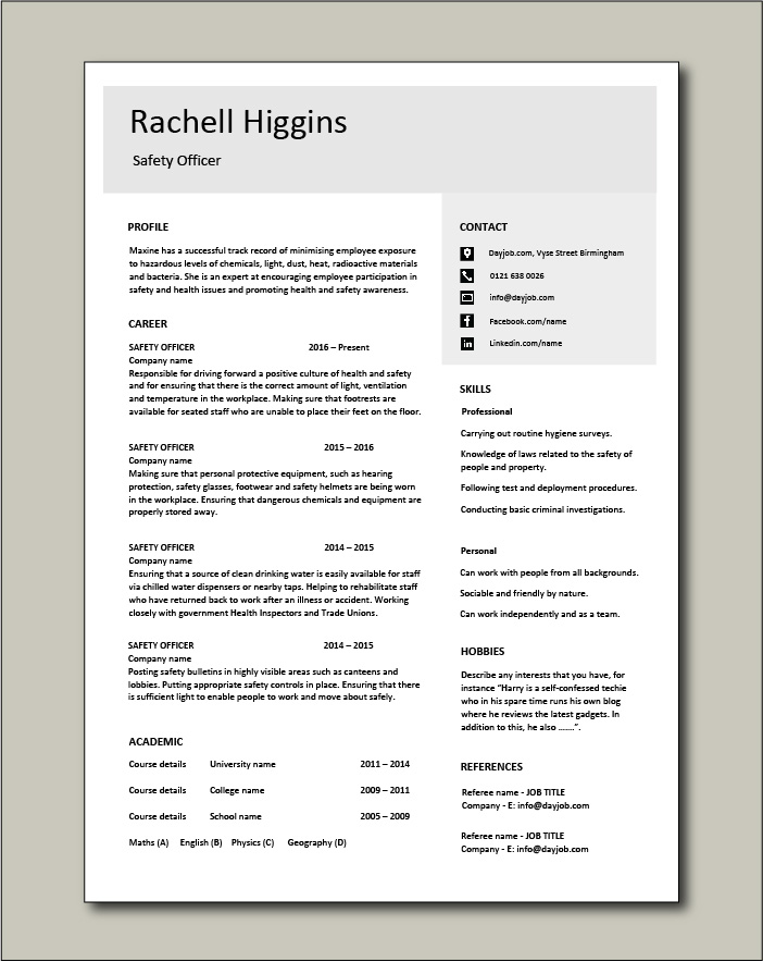 Free Safety Officer CV template 4