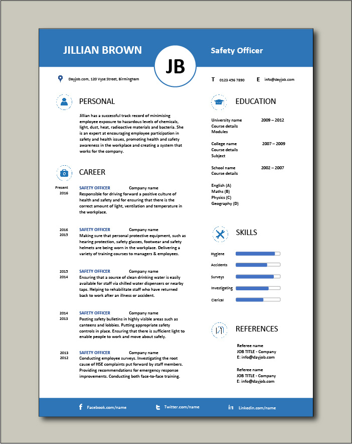 Free Safety Officer CV template 5