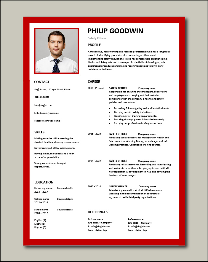 Free Safety Officer CV template 6