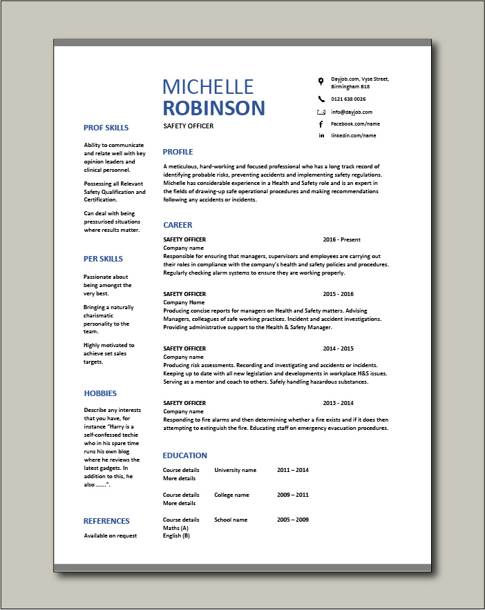 Free Safety Officer CV template 8