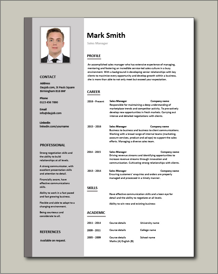 Free Sales Manager CV template 1