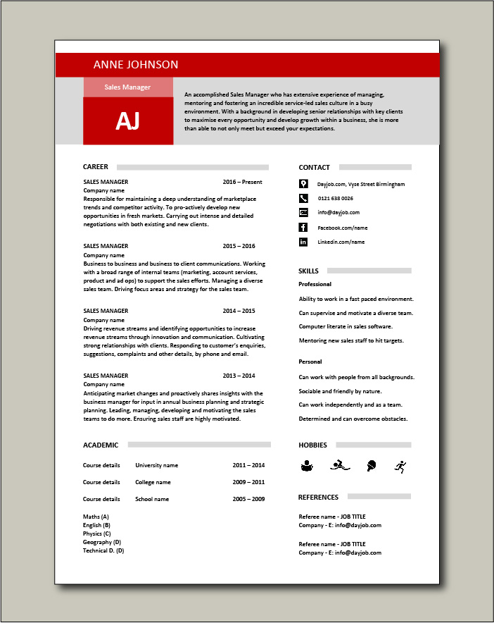 Free Sales Manager CV template 2