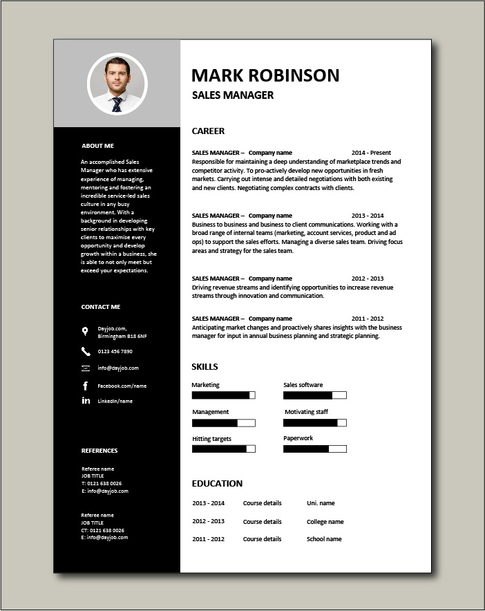 Free Sales Manager CV template 3