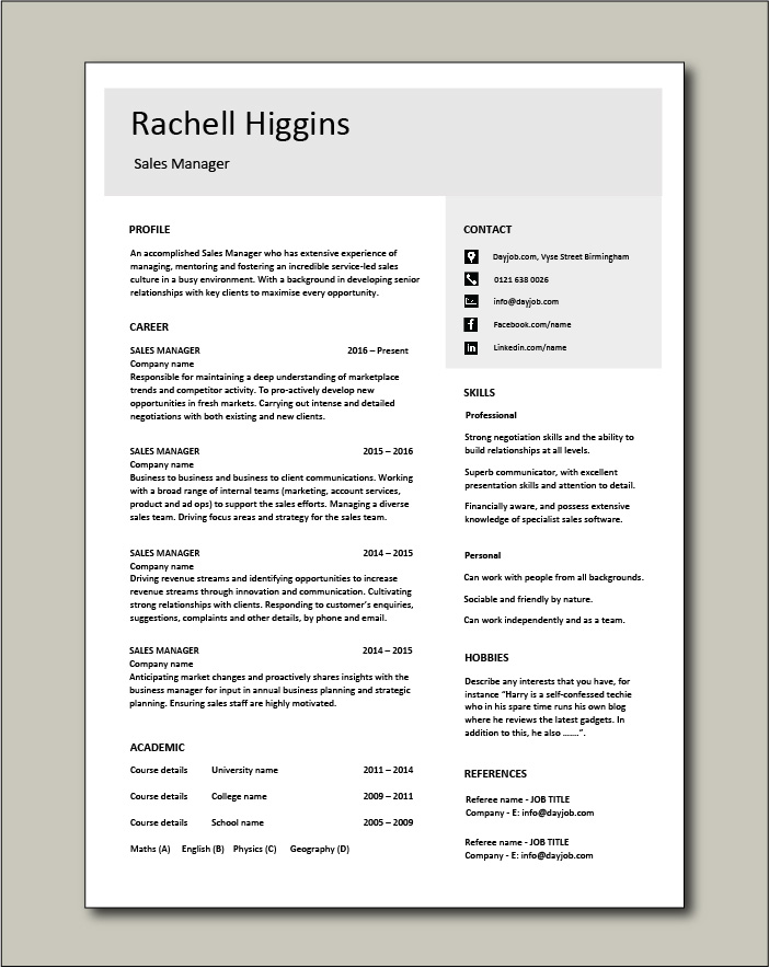 Free Sales Manager CV template 4