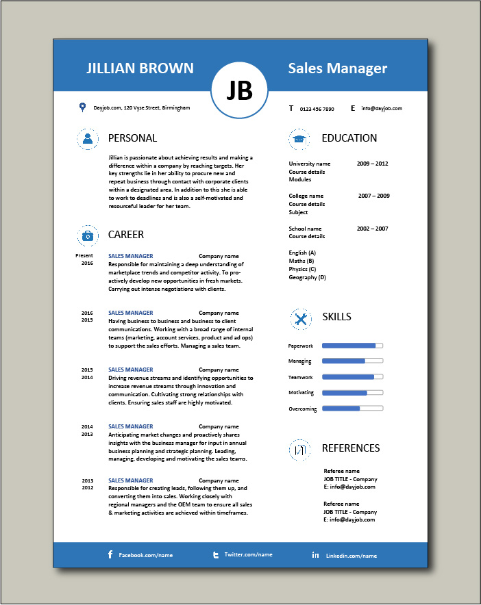 Free Sales Manager CV template 5