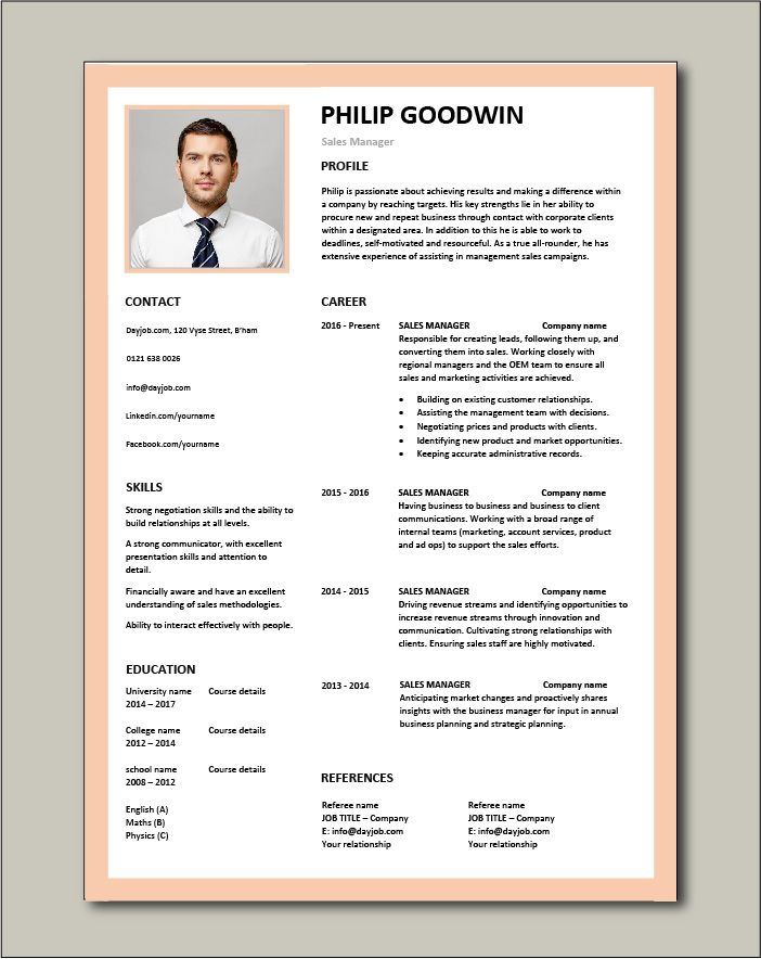 Free Sales Manager CV template 6