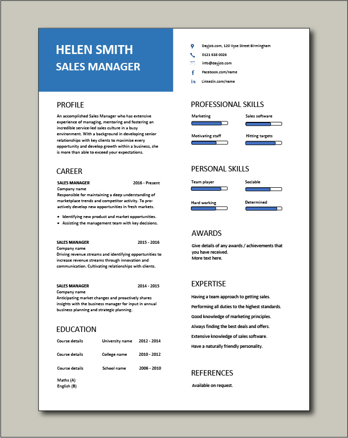 Free Sales Manager CV template 7