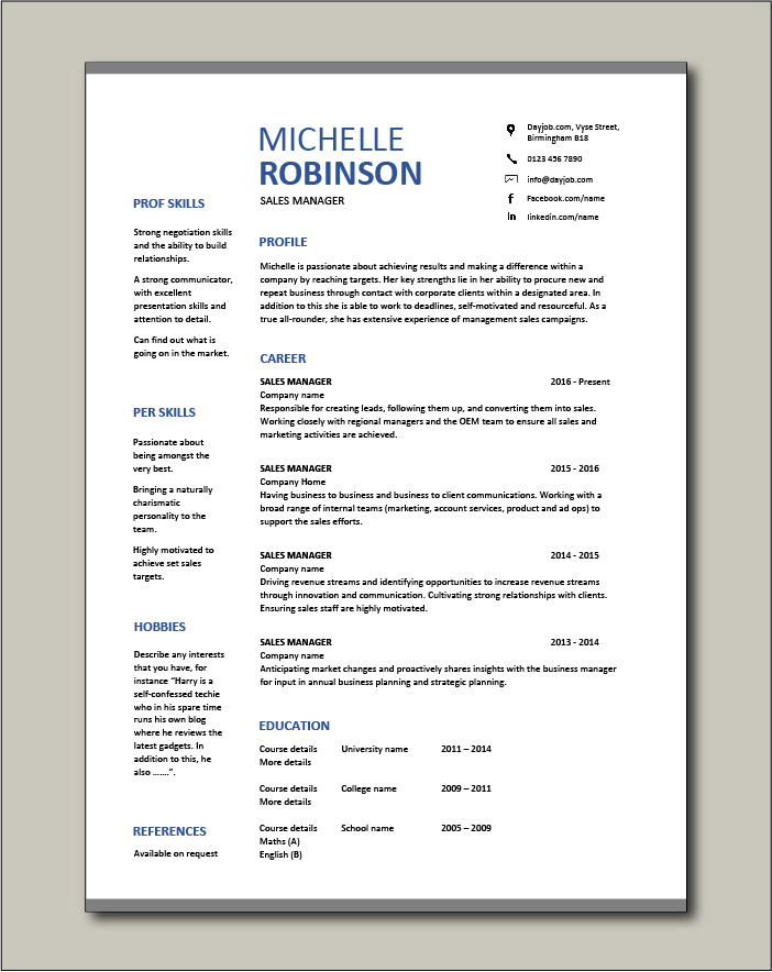 Free Sales Manager CV template 8
