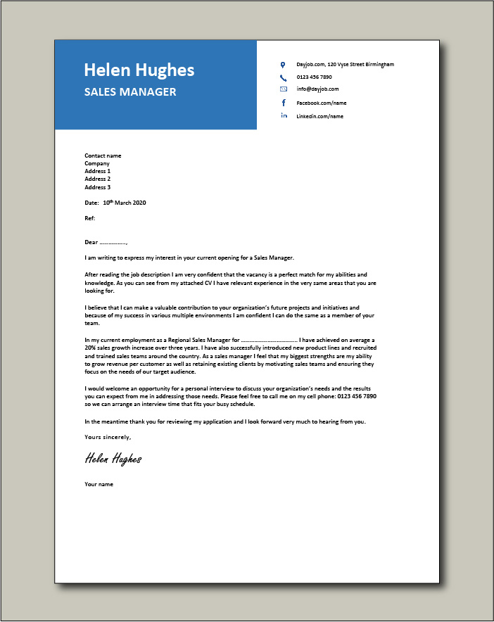 Free Sales Manager cover letter example 4