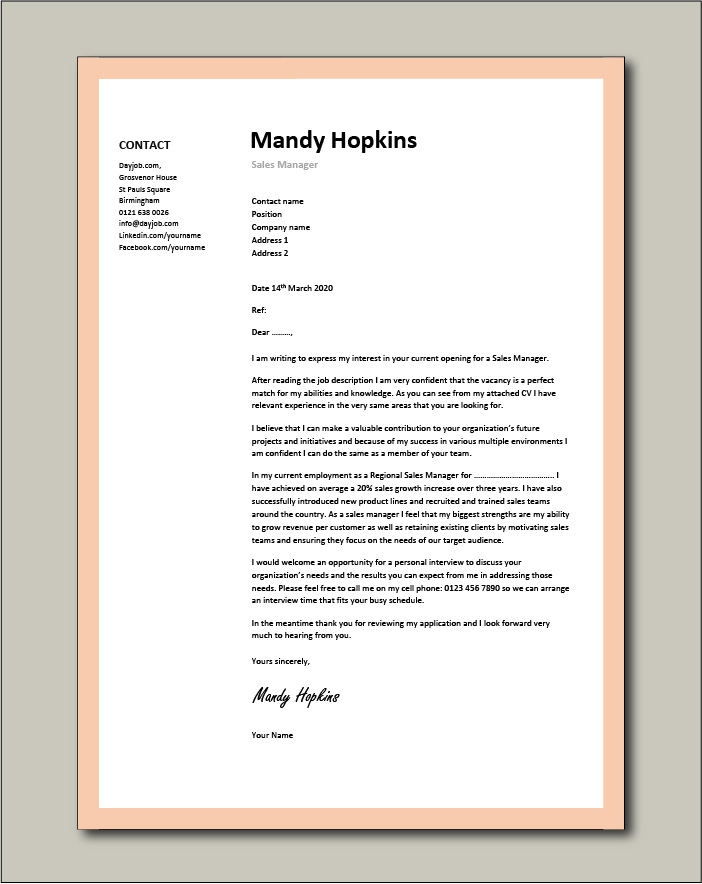 Free Sales Manager cover letter example 5