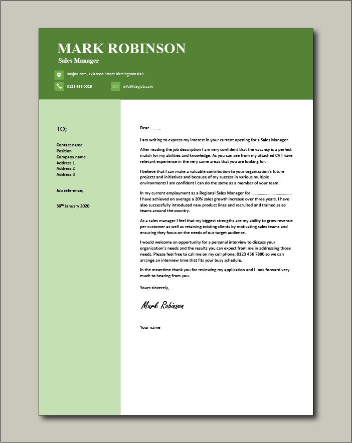 Free Sales Manager cover letter example 6