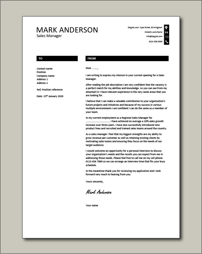 Free Sales Manager cover letter example 8