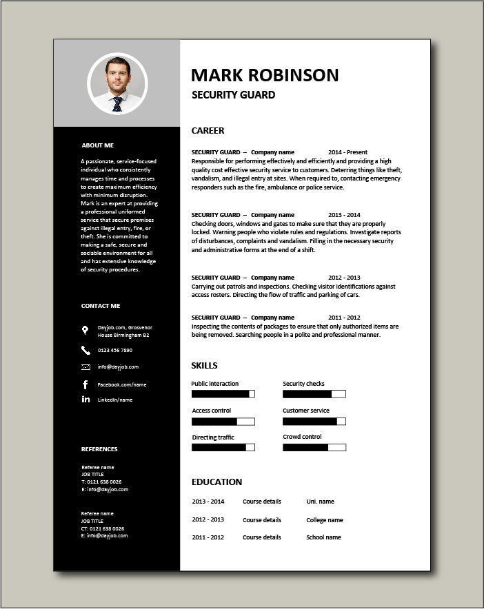 Free Security Guard CV template 3