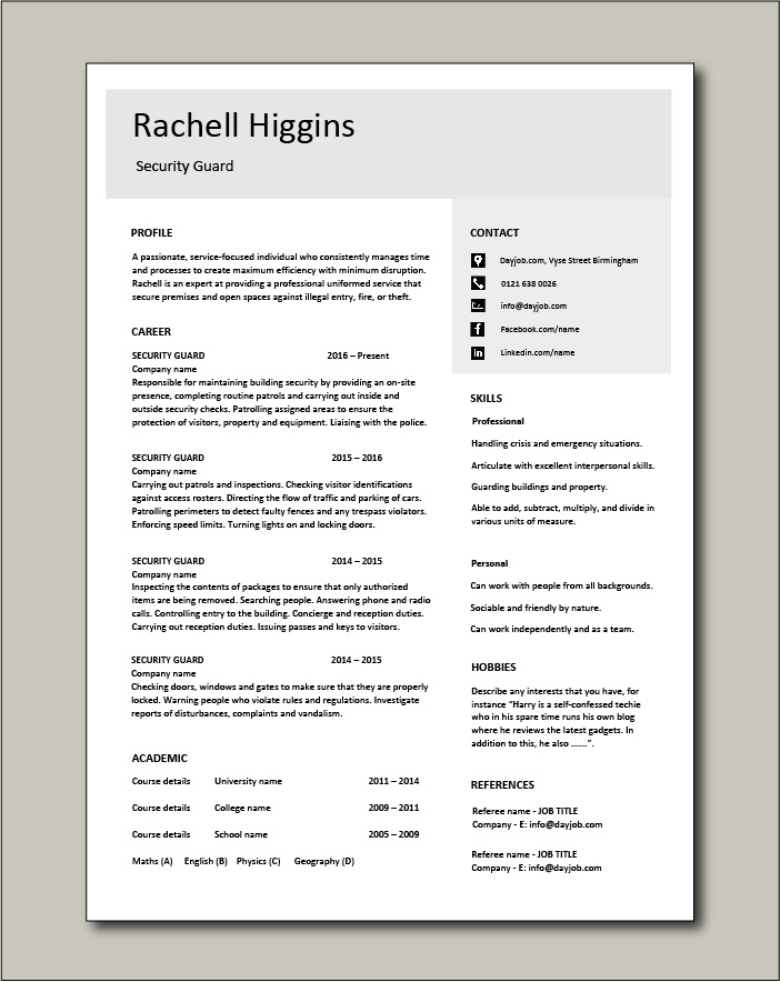 Free Security Guard CV template 4