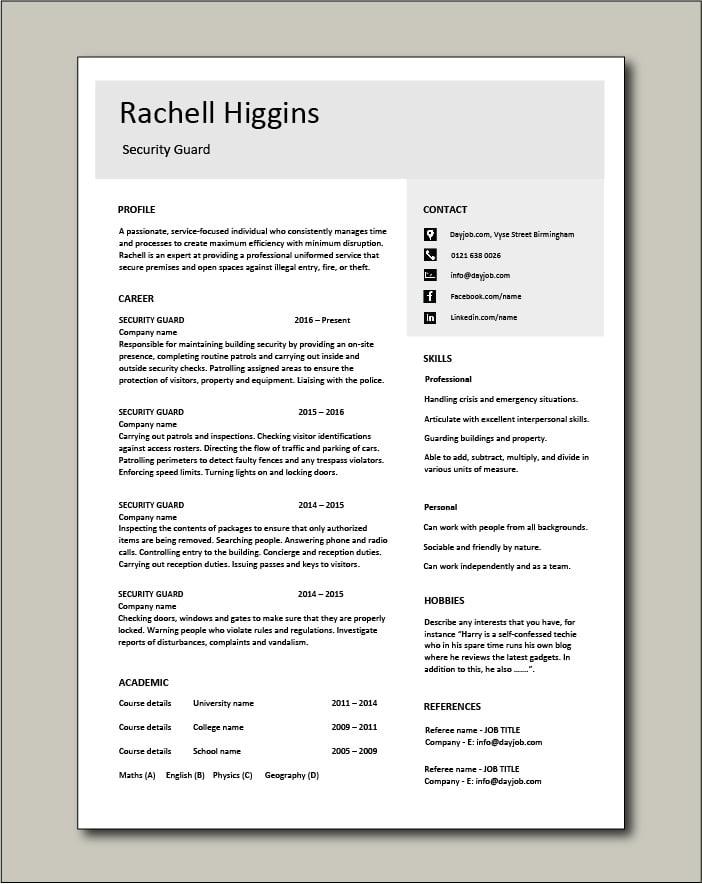 Free Security Guard CV template 4