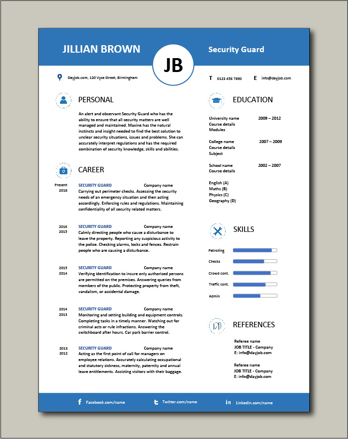 Free Security Guard CV template 5
