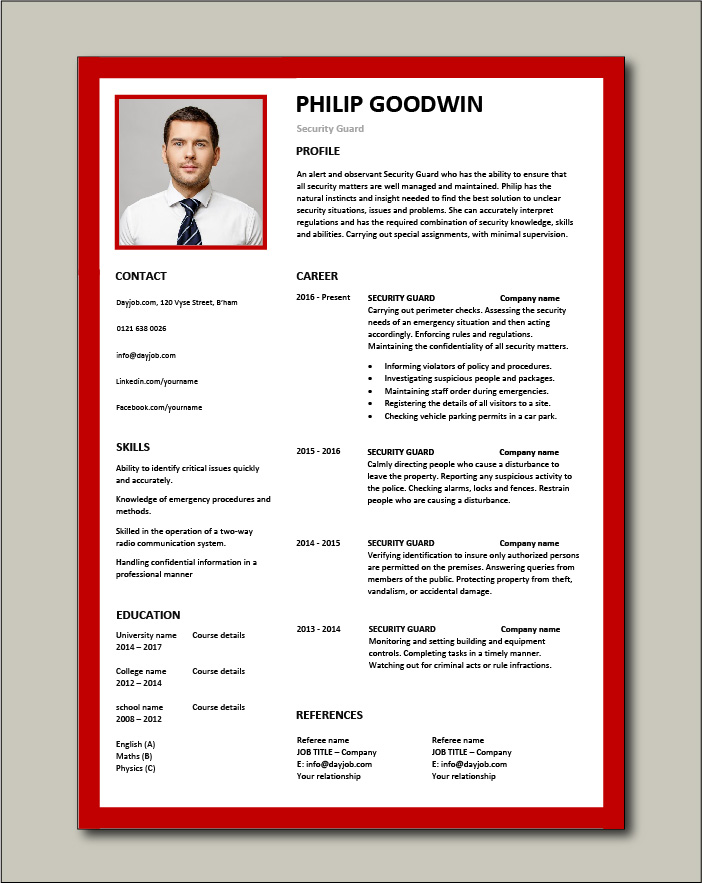 Free Security Guard CV template 6