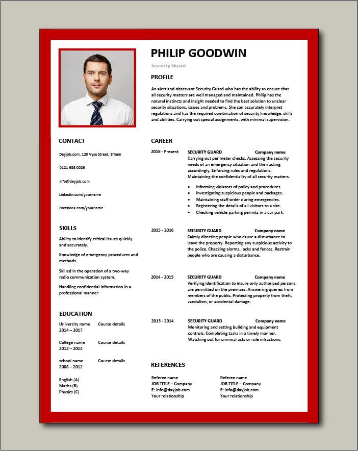 Free Security Guard CV template 6